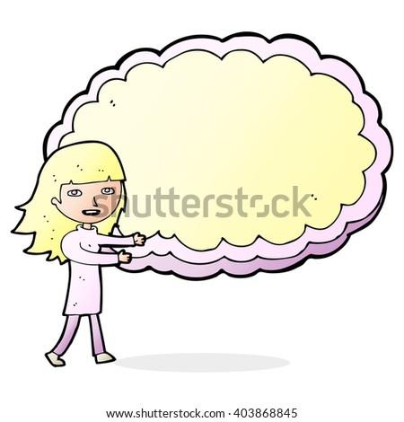cartoon girl presenting cloud text space - stock vector