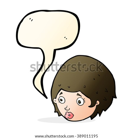 cartoon girl with concerned expression with speech bubble - stock vector