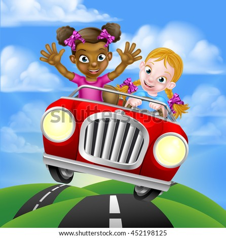 Cartoon girls, one black one white, having fun driving fast in a car on a road trip - stock vector