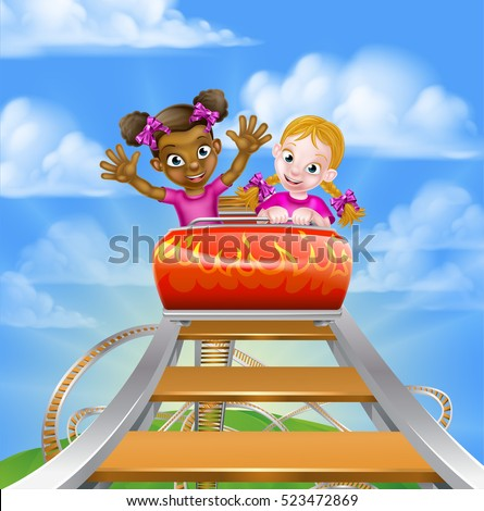 Cartoon girls riding on a roller coaster ride at a theme park or amusement park