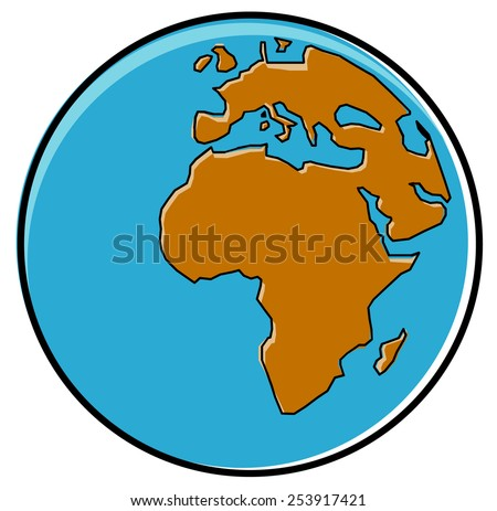 Cartoon globe showing African continent - stock vector