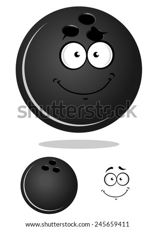 Cartoon glossy bowling ball character with shadow and a duplicate without smiling face for bowling club or team mascot design  - stock vector