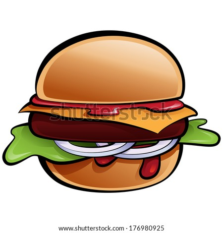 Cartoon glossy vector cheeseburger with onion lettuce and sauces in bun - stock vector