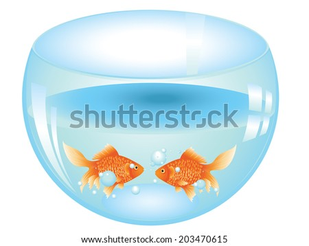Cartoon gold fish swimming in the water in a fishbowl. - stock vector
