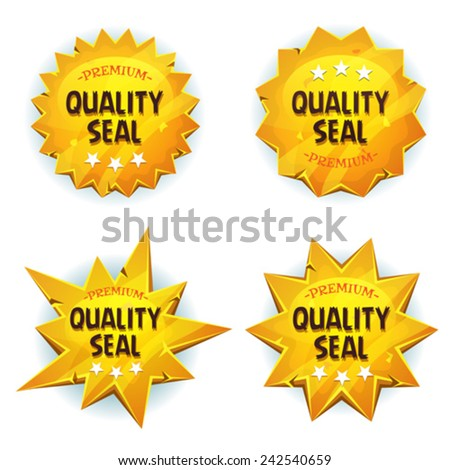 Cartoon Gold Premium Quality Seals/ Illustration of a set of glossy and bright cartoon golden awards and quality seals symbols for tablet pc app software or ui game - stock vector
