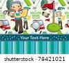 cartoon golf card - stock photo