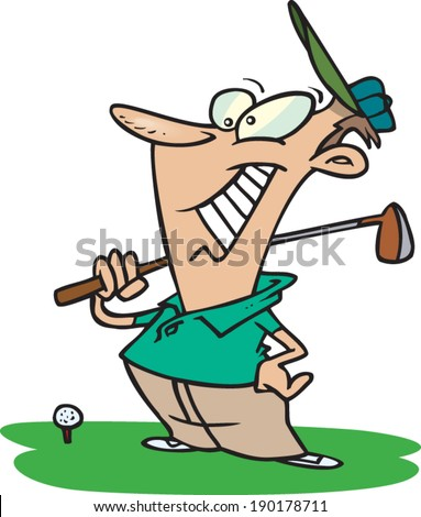 cartoon golfer about to hit the golf ball - stock vector