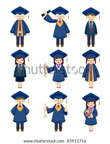 Cartoon Graduate students icons set - stock vector