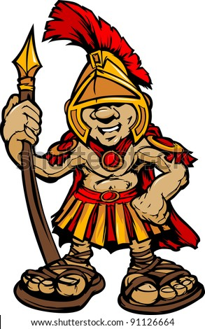 Cartoon Graphic of a Greek Spartan or Trojan Mascot holding a Spear - stock vector