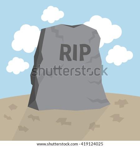 Cartoon grave flat design. - stock vector