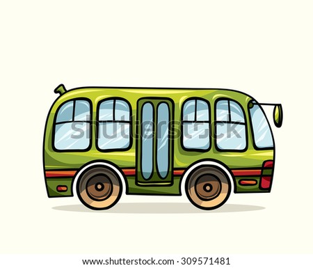 Cartoon green bus on a white background. Vector illustration of public transport. - stock vector