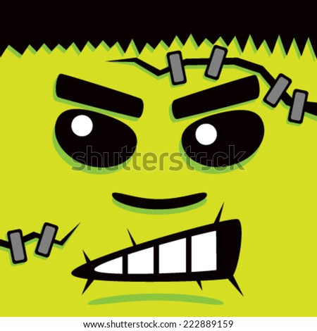 Cartoon Green Frank Face - stock vector