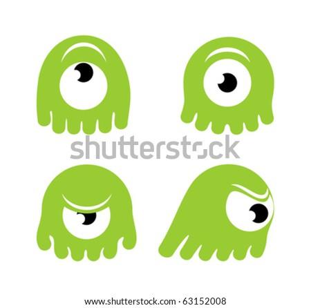 Cartoon green monster in various poses - stock vector