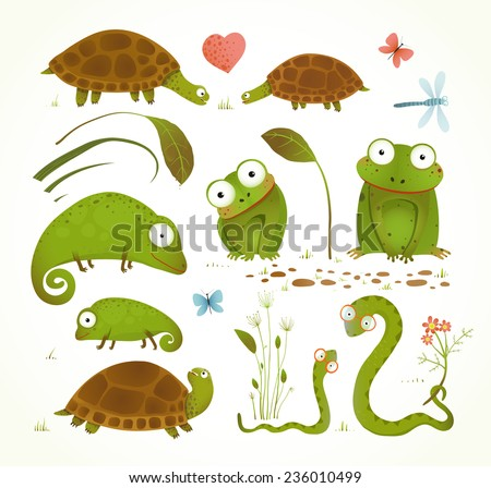 Cartoon Green Reptile Animals Childish Drawing Collection. Brightly colored childish frogs turtles snakes lizards grass leaves. Vector illustration.