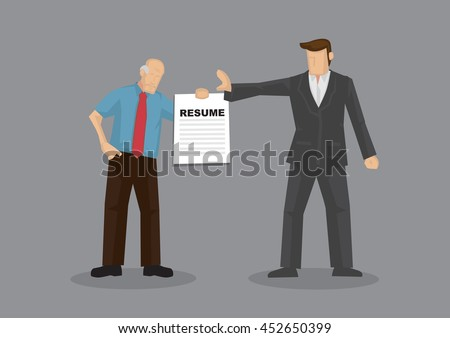 cartoon grey hair old man character holding resume and businessman holds a stop gesture vector