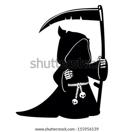 Cartoon grim reaper with scythe.  vector illustration.  Death symbol - stock vector