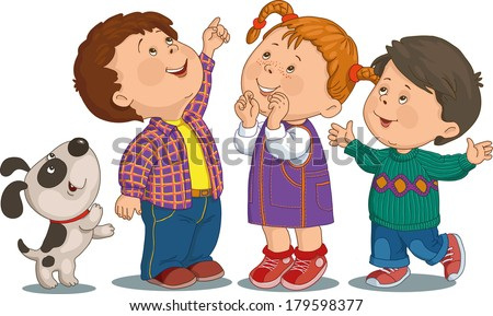cartoon group of children who are smiling and looking up - Cartoon Image Of Children
