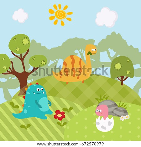 Cartoon group of dinosaur. Vector illustration with prehistoric wildlife.