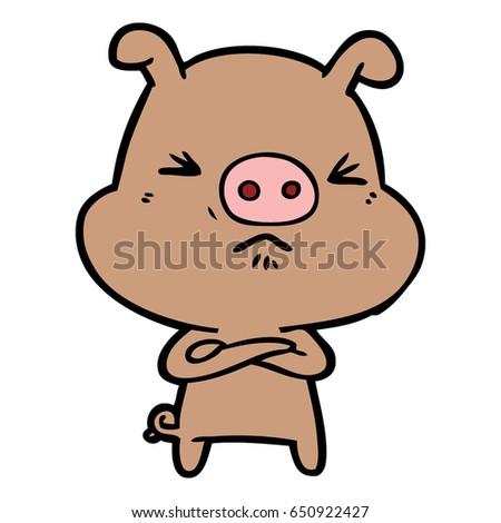 cartoon grumpy pig stock vector 650922427 shutterstock rh shutterstock com grumpy cartoon character grumpy cartoon characters