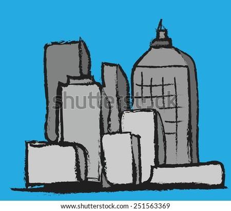 cartoon grunge panoramic city, vector illustration design element - stock vector