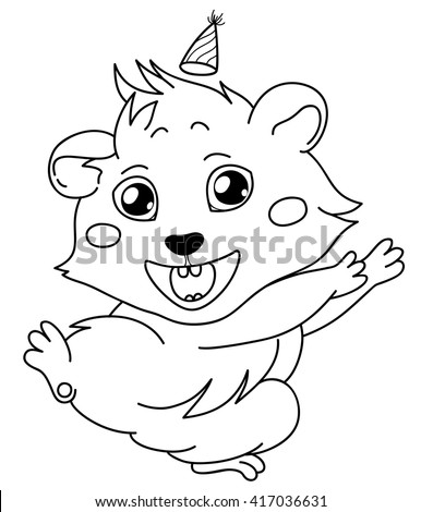 Cartoon guinea pig, line drawing, emoticon holiday, isolated on transparent background/Cavy in a celebratory cap - emoticons icon holiday, holiday emoji  - stock vector