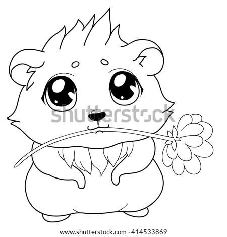 Cartoon guinea pig, line drawing, emoticon with gift, isolated on transparent background/Cavy with a flower - emoticons icon gift, gift emoji - stock vector