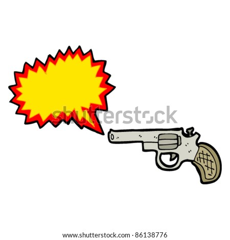 cartoon gun with blank bang symbol