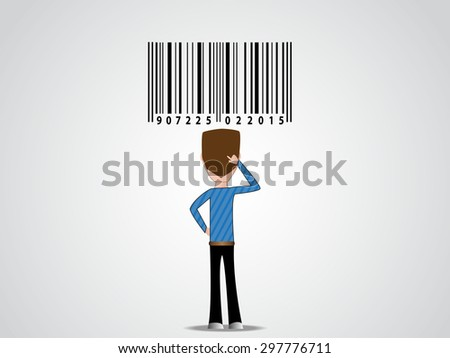 Cartoon guy character silhouette looking at barcode