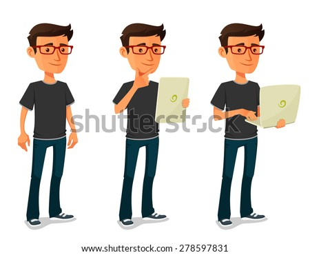 cartoon guy with tablet and notebook - stock vector