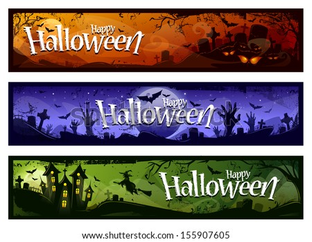 Cartoon halloween banners set. Grunge styled horizontal halloween banners with 'Happy Halloween' typography. Vector illustration.  - stock vector