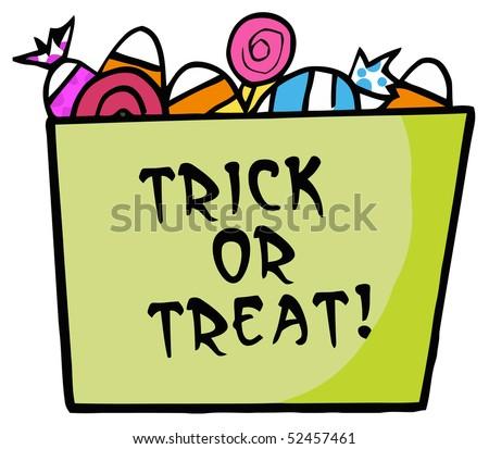 Cartoon Halloween Bucket Of Candy With Text - stock vector