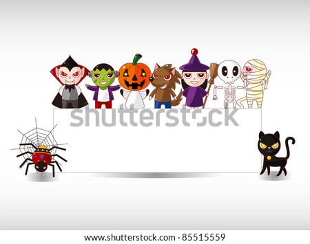 Cartoon Halloween card - stock vector