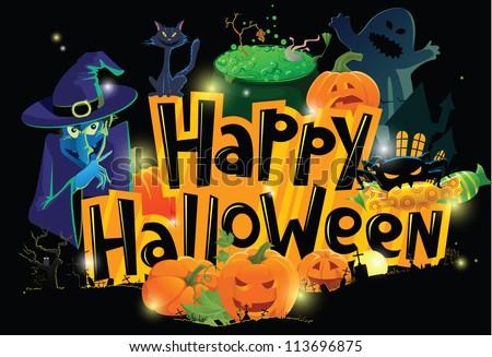 Cartoon Halloween greeting card - stock vector