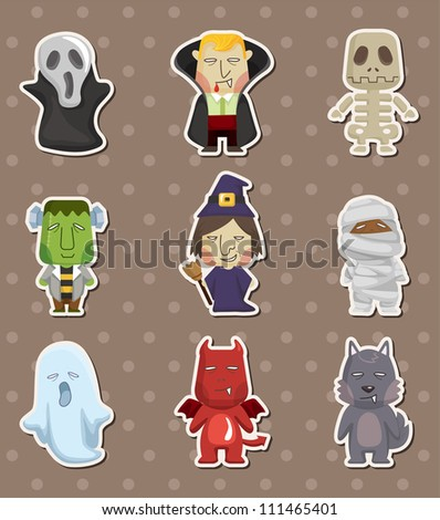 Cartoon Halloween monster  stickers - stock vector