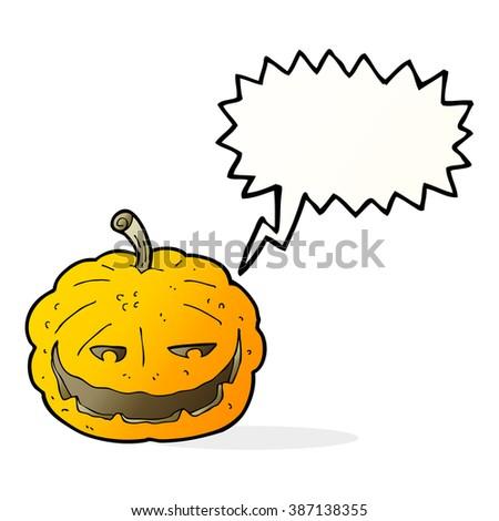 cartoon halloween pumpkin with speech bubble - stock vector