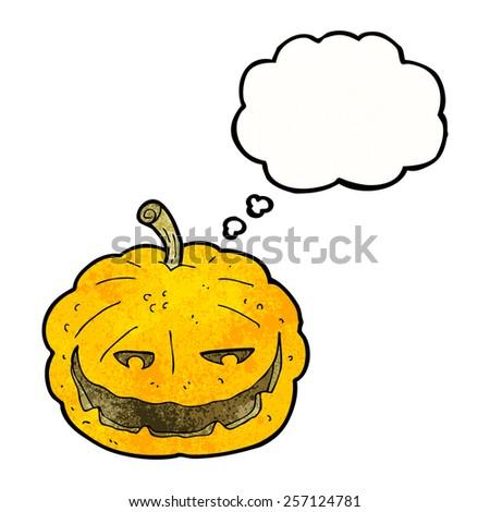 cartoon halloween pumpkin with thought bubble - stock vector