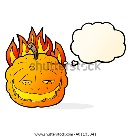 cartoon halloween pumpkin with thought bubble - stock vector