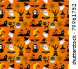 cartoon Halloween seamless pattern - stock vector