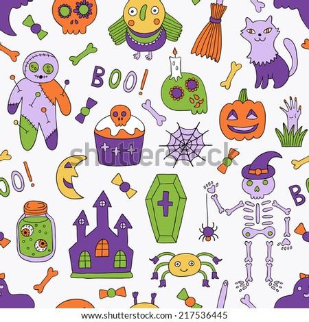 Cartoon halloween seamless pattern. Vector illustration. - stock vector