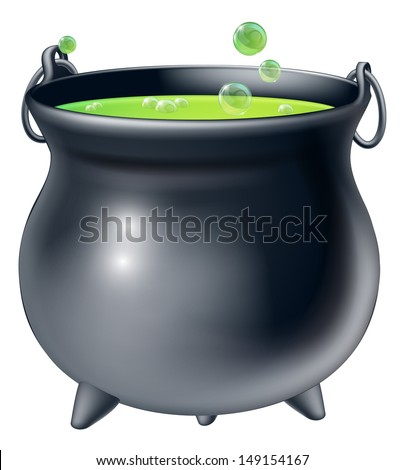 Cartoon Halloween witch's cauldron with green bubbling witch's brew in it