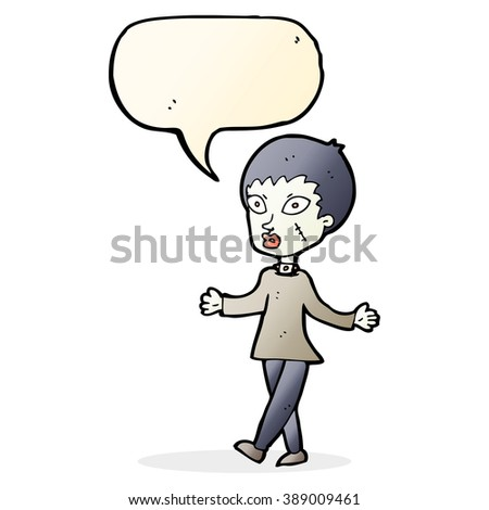 cartoon halloween zombie woman with speech bubble - stock vector