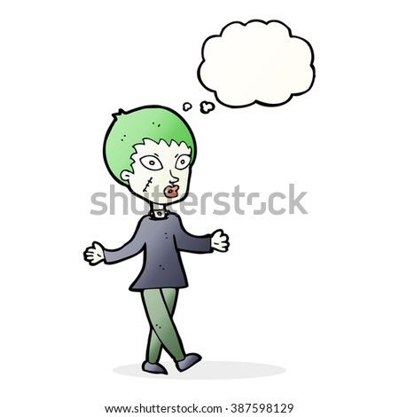 cartoon halloween zombie woman with thought bubble - stock vector