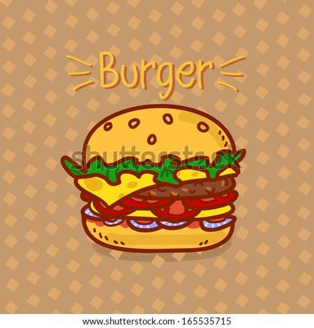 Cartoon hamburger with an inscription on a brown background - stock vector