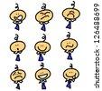 cartoon hand-drawn businessman emotion set for design - stock photo