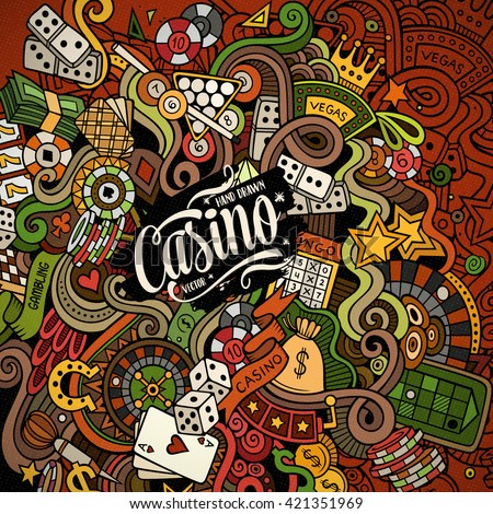 Cartoon hand-drawn doodles casino, gambling illustration. Colorful detailed, with lots of objects vector design background - stock vector