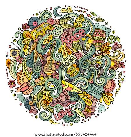 Cartoon Handdrawn Doodles Hippie Illustration Colorful Stock Vector 553424464 Shutterstock