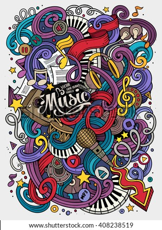 Cartoon hand-drawn doodles Musical illustration. Colorful detailed, with lots of objects vector background