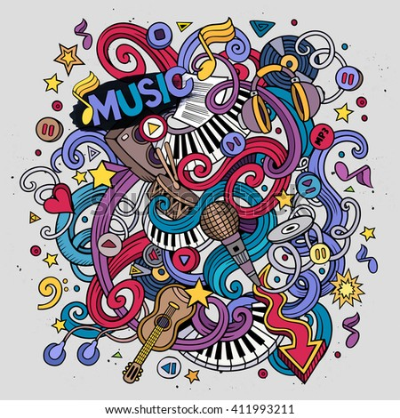Cartoon hand-drawn doodles Musical illustration. Colorful detailed, with lots of objects vector background - stock vector