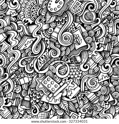 Cartoon hand-drawn doodles on the subject of Art style theme seamless pattern. Contour trace vector background - stock vector