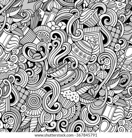 Cartoon hand-drawn doodles on the subject of cafe, coffee shop theme seamless pattern. Line art detailed, with lots of objects vector background - stock vector